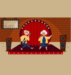 elderly music cartoon composition vector image