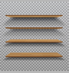 empty wooden shelf isolated on checkered vector image