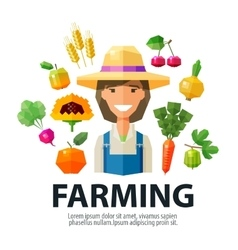 Farming farmer farm logo design template vector
