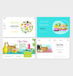flat spa salon websites set vector image