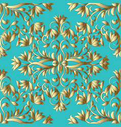 floral gold hand drawn seamless pattern light vector image