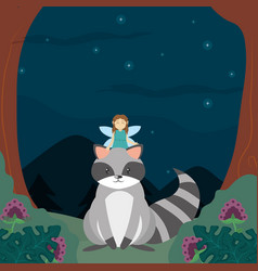 Forest fairy and raccoon vector