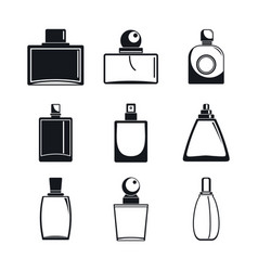 Fragrance bottles perfume icons set simple style vector