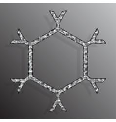 Frame Silver Sequins Snowflake Glitter Sparkle vector image
