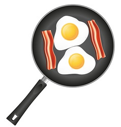 fried eggs in a frying pan 03 vector image