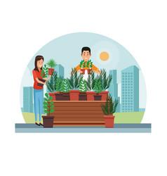 Gardening shopping at city vector