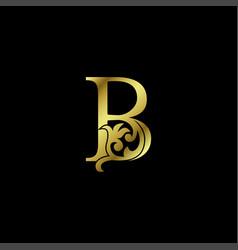 Gold luxury letter b ornament logo alphabet vector