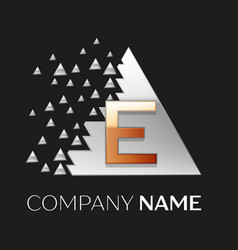 golden letter e logo in silver pixel triangle vector image