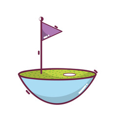 Golf flag play game field vector