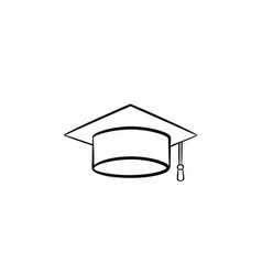 graduation cap hand drawn sketch icon vector image
