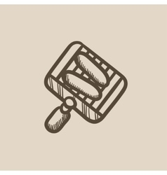 Grilled sausage on grate for barbecue sketch icon vector image