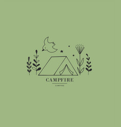 Hand drawn tent camping logo icon vector