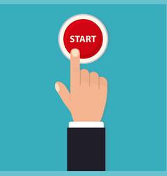 Hand push start press button flat style vector