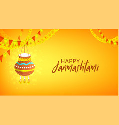 happy janmashtami design banner vector image