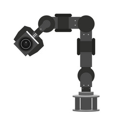 high performance robotic arm lifting objects in vector image