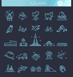 iceland icons tourism and attractions vector image
