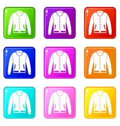 Jacket icons 9 set vector