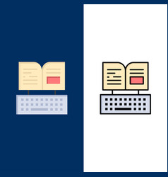 Key keyboard book facebook icons flat and line vector