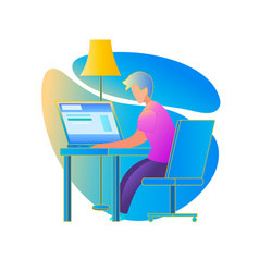 male student character study at home via internet vector image
