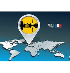 Map pin with Paris skyline vector