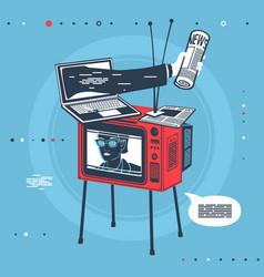Mass media equipment set vector