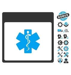 Medical Life Star Calendar Page Icon With vector