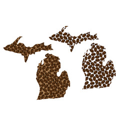 Michigan - map of coffee bean vector