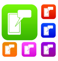 mobile chatting set collection vector image
