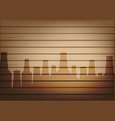 mock up realistic wood and beer bottle glass vector image
