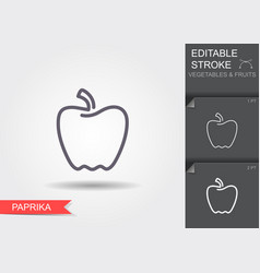 paprika line icon with editable stroke with vector image