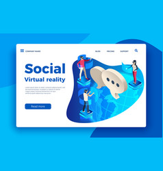people wearing virtual headset isometric vector image