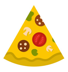 Piece of pizza with sausage icon isolated vector