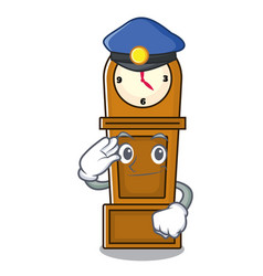 Police grandfather clock character cartoon vector