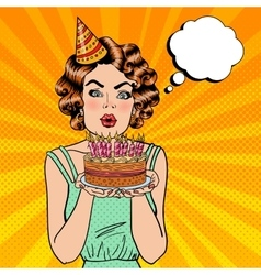 Pretty Happy Girl Blowing Candles on Birthday Cake vector image