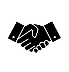 Professional welcome and respect handshake icon vector