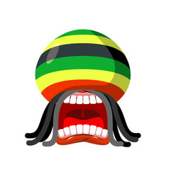 rastaman screams rasta cry open your mouth and vector image