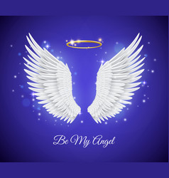 Realistic angel wings 3d white feathers vector