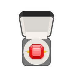 Ring with ruby in box top view jewel isolated vector