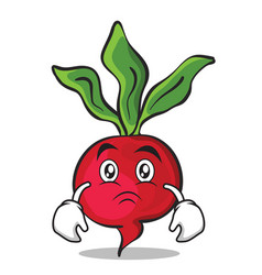 Sad face radish character cartoon collection vector