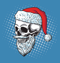 santa claus skull bearded cartoon vector image