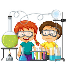 scientist doing experiment in science lab vector image