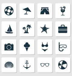 Season icons set collection of armature parasol vector