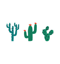 set different prickly desert plants or cacti vector image