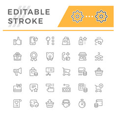 set line icons shopping vector image