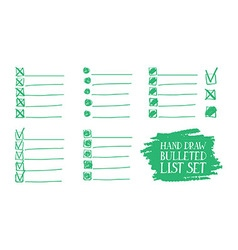 Set of insulated bulleted lists vector
