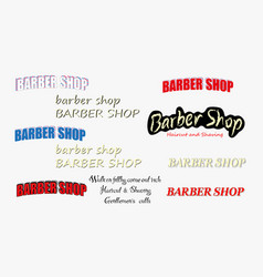 set of vintage barber shop logo vector image