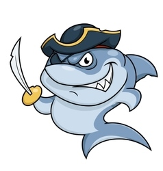Shark pirate with sabre vector