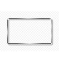 Silver rectangle frame on transparent background vector