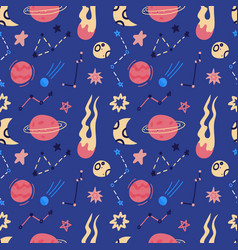 space seamless pattern planets orbits flying vector image