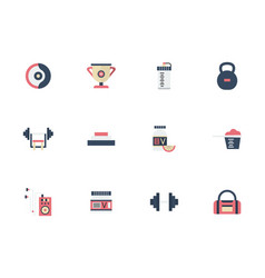 sports and dieting flat color icons set vector image